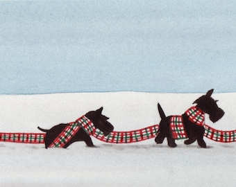 Troop of Scottish terriers (scotties) in the snow / Lynch signed folk art print