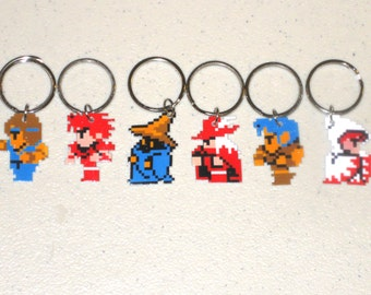 White Mage, Black Mage, Red Mage, Fighter, Thief, or Black Belt Final Fantasy 1 Characters - Keychain, Charm, Necklace, Earrings