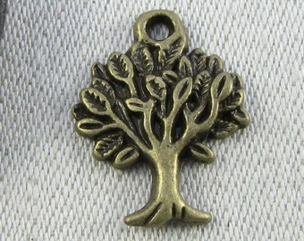 1 or 10, Tree Charm, Tree, Forest Charms, Apple Tree, Silver Tree, Eco Charm, Environment Charm, Fruit Tree, Tree Charms, NAT008BZ