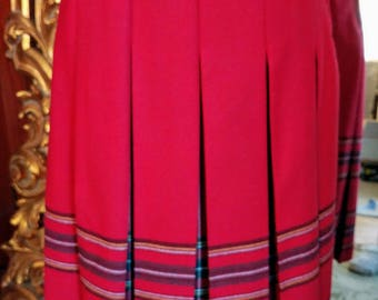 Vintage 1970's Oui Petites Red Wool Inverted Pleat Skirt Size 6
