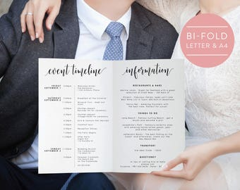 Wedding Weekend Itinerary-Editable PDF-Welcome Bag-Wedding Weekend Timeline-Folded Itinerary-Wedding Schedule-PDF Instant Download-#SN022_IT