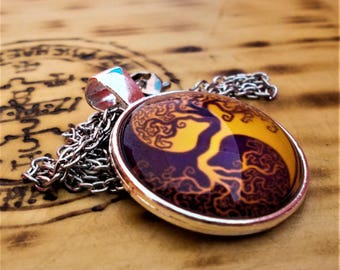 Tree Of Life Glass Pendant Necklaces with Alloy Chains