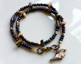 Beaded Bird Bracelet, Layered Bracelet, Ablone Bird Charm, Bohemian Bracelet, Wrap Bracelet, Gardendiva