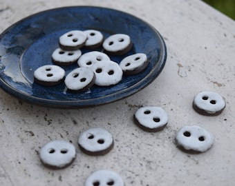 Clay Buttons (Set of 4) in White (Snow) + FREE Shipping