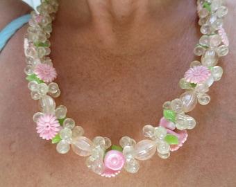 Vintage Flower Garden Plastic Beaded Necklace West Germany
