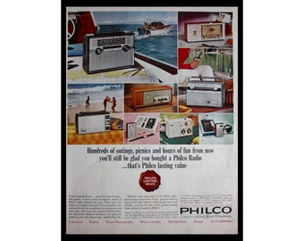 1964 Ad Philco Portable Radio and Clock Radios Vintage Print Ad ETK318