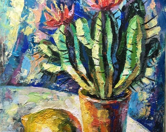 Original oil painting on canvas board.  Cactus and lemon. Still life .8 by 10 inches