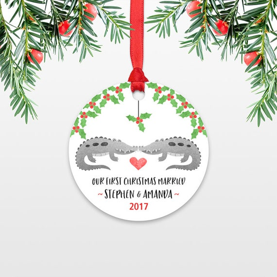 Crocodile Alligator Couple First Christmas Ornament Personalized Our First Christmas Married 1st First Christmas Engaged Christmas Together