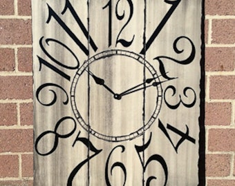 "24"" x 30"" Rustic Gray and Black Wall Clock"