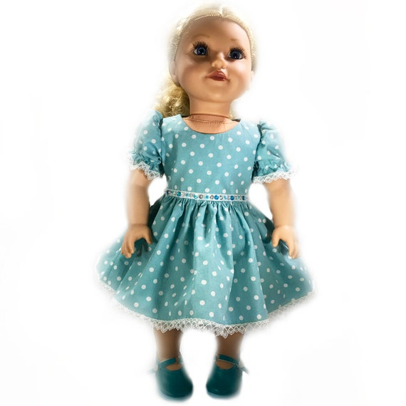 "Organic Party Dress for American Girl and Other 18"" Dolls: Sky and White Dots"