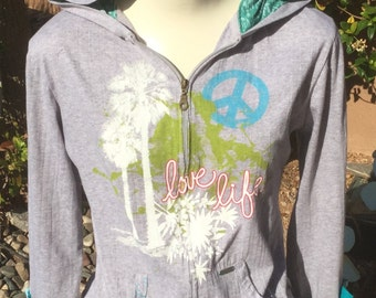 Love life repurposed hoodie with amazing cuffs upcycled clothing