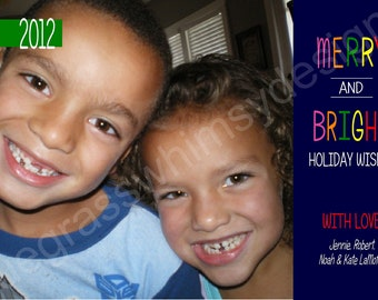 Merry & Bright Holiday Photo Card, Printable 2012