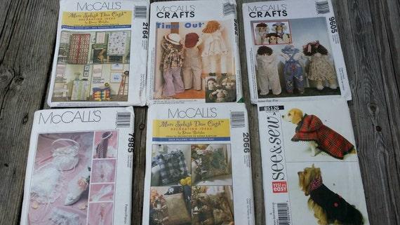 Set of Sewing Patterns, Craft Patterns, McCalls patterns, Sewing Supplies, Craft Supplies