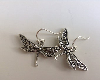 Dragonfly Earrings, silver dragonfly earrings, insect earrings