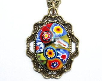 Necklace bronze, Murano Millefiori pendant, Millefiori cabochon, neck jewellery