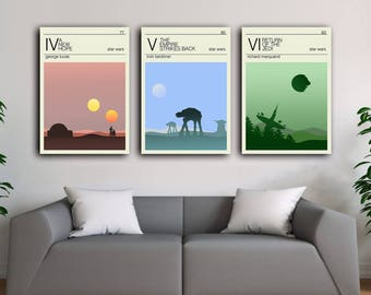 Star wars Travel posters set , New hope poster, Return of the jedi poster, Empire strikes back poster, Hoth, Tatooine, Endor