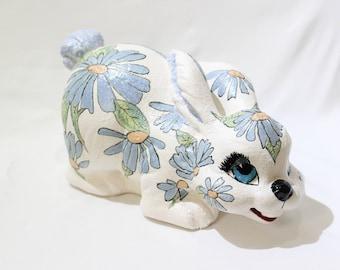 Vintage Large Ceramic Blue Floral Bunny Rabbit Statue, Vintage Decor, Easter, Easter Bunny, Easter Decorations