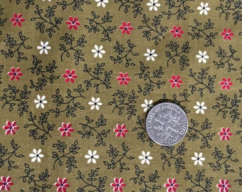 Vintage Cotton Calico Quilting Fabric 1950s Daisies Small Print