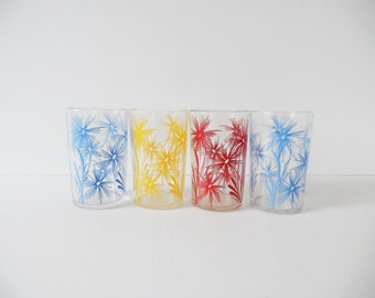 Mid Century Glasses Set of 4 Vintage barware Vintage Tumblers Juice Glasses Vintage floral glasses Small flower glasses Blue yellow red