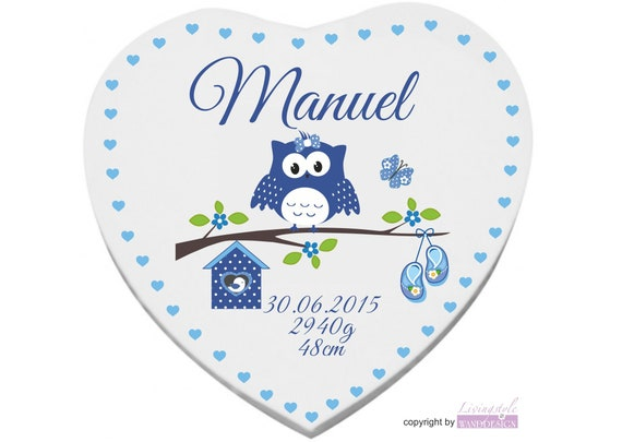 Heart screen for birth baptism with name for boys