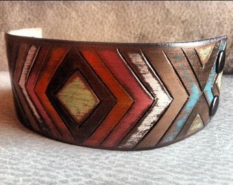 Leather Tribal Chevron Bracelet, Chevron Jewelry, Tribal Cuff, Leather Cuff, Rustic Leather Cuff