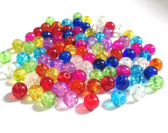 90 Crackle glass beads 6mm mix color (P)