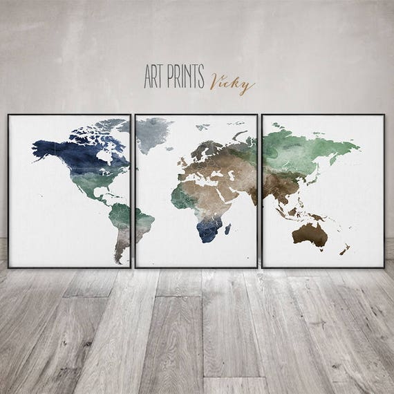 World map 3 pieces wall art posters set of 3 prints large like this item gumiabroncs Images