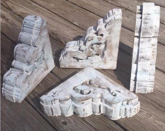 Handmade Wood Corbels ~ Antique Farmhouse Style ~ Set of 2 ~ Stained Painted Chippy White ~ Shelf Decorative