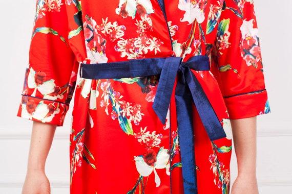 Rote Robe Floral Bademantel Satin Robe Satin Hochzeits