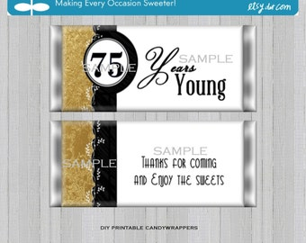 75th Birthday Black and Gold Party Favors Hershey's Candy Bar Wrappers Printable DIY Instant Download