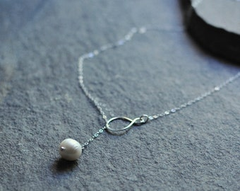 Infinity Pearl Lariat Necklace