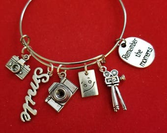 Silver Photographer Themed Charm Bracelet