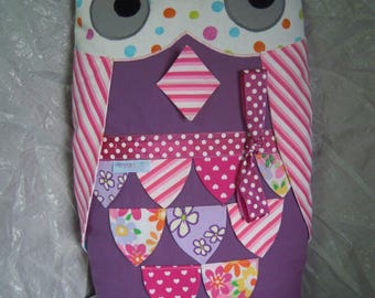 OWL kids pillow purple and pink