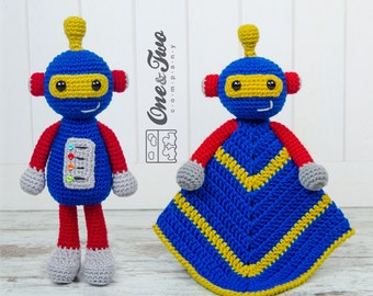 Combo Pack - Robby the Robot Lovey and Amigurumi Set for 7.99 Dollars - PDF Crochet Pattern Instant Download - Special Offer
