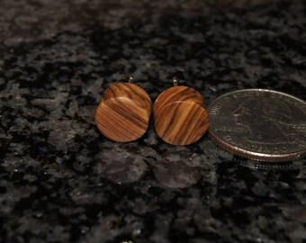 Olive Wood Earrings, stud earrings, sterling silver posts