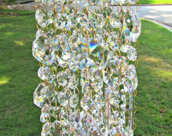 Crystal Wind Chime, Glass Wind Chime, Anniversary Gift , House Warming Gift, Gift for Her, Garden Accent, WC 126