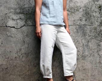 Linen clothing, women linen clothes, linen pants women, linen trousers, wide leg trousers. Cropped linen pants. Japanese style pants, Italy