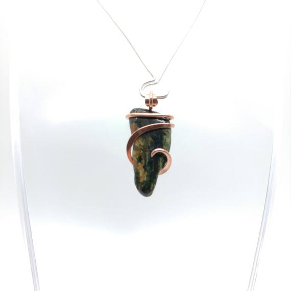 Rustic Jasper Pendant   Rustic Stone Necklace   Copper Pendant   Copper Necklace   Skull Jasper Pendant   Green Jasper Pendant