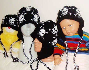 Custom Knitted Family Hats for Dad hat, Mom hat and two Childrens hats with Earflap Hats White Skull Knit Hats wool hats
