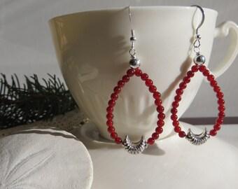 Carnelian Earrings, Orange Gemstone Earrings, Moon Earrings, Sterling Silver Earrings, Dangle Earrings, Orange Earrings, Silver Earrings,
