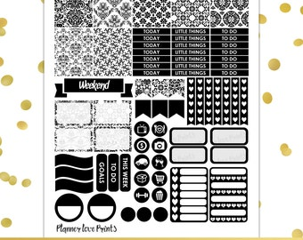 Black Damask PRINTABLE Planner Stickers | Instant Download | Pdf and Jpg Format