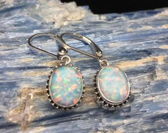 Opal Earrings // Oval Bali Setting // 925 Sterling Silver // Lever Backings