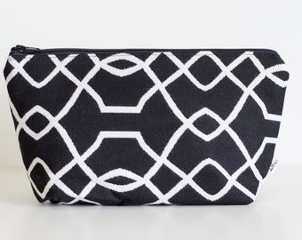 Large Cosmetic Case, Makeup case, Black and White