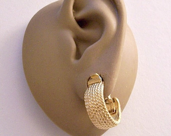 Monet Twisted Rope Hoops Clip On Earrings Gold Tone Vintage Round Wide Band Comfort Paddles Open Dangles