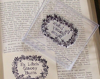 Custom Floral Chain Border Ex Libris Bookplate Rubber Stamp C24