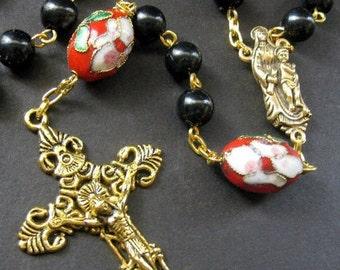 Handmade Catholic Rosary - Cherry Blossoms in Rose. Handmade Rosary.