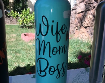 Wife Mom Boss stainless steel water bottle