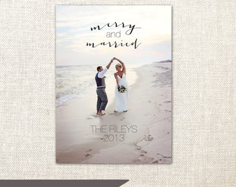 Merry and Married Christmas Card - Personalized with your picture - Printable or Printed