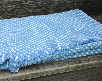 Vintage Blue Homespun Country Tablecloth w/ Fringe, Round Homespun Woven Country Tablecloth