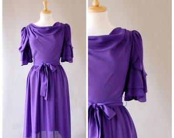 Vintage Dress / Vintage 80s Dress / Sheer Dress / Sheath Dress / Purple Dress / Fluted Sleeves / Cowl Neck Dress / Size Small
